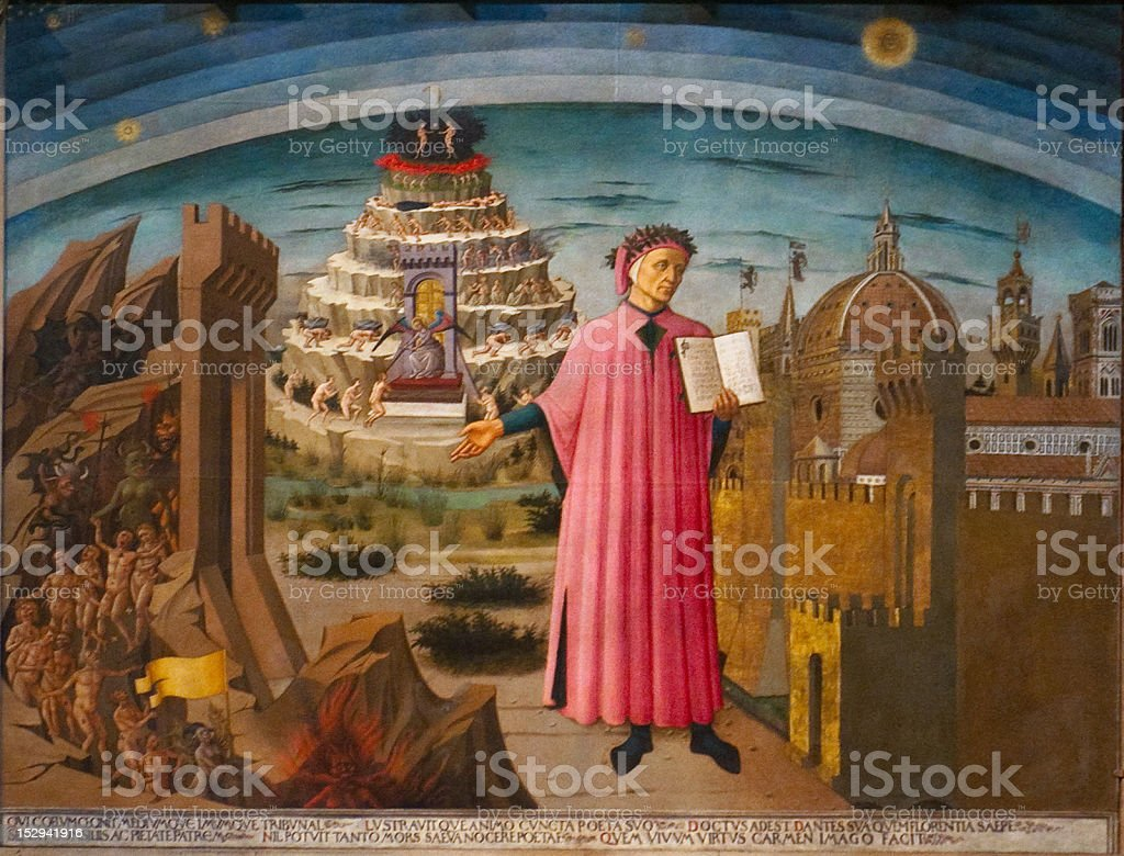 Dante and the Divine Comedy in Duomo stock photo