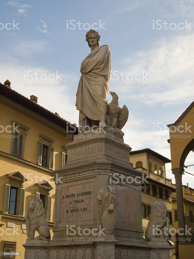 Dante statue in Florence, Italy stock photo