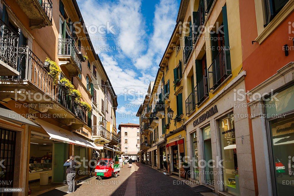 Dante street in Peschiera stock photo