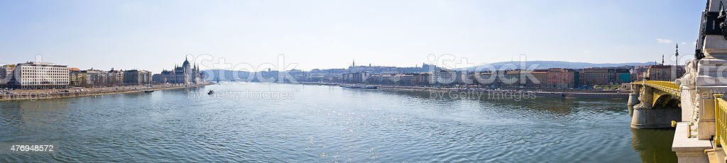Danube and Margaret Bridge in Budapest, Hungary stock photo