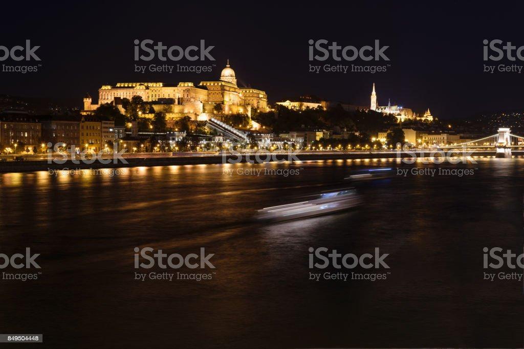 Danube at night, Hungary, Budapest stock photo