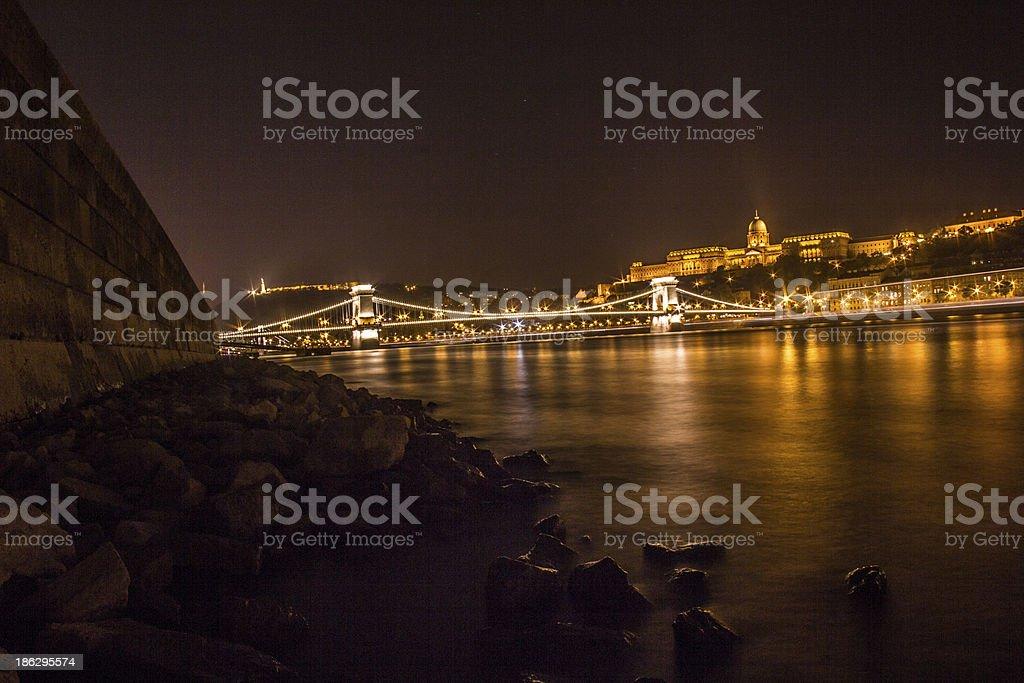 Danube at night royalty-free stock photo