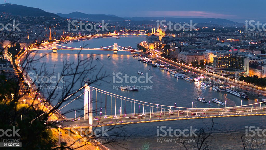 Danube river at dusk stock photo