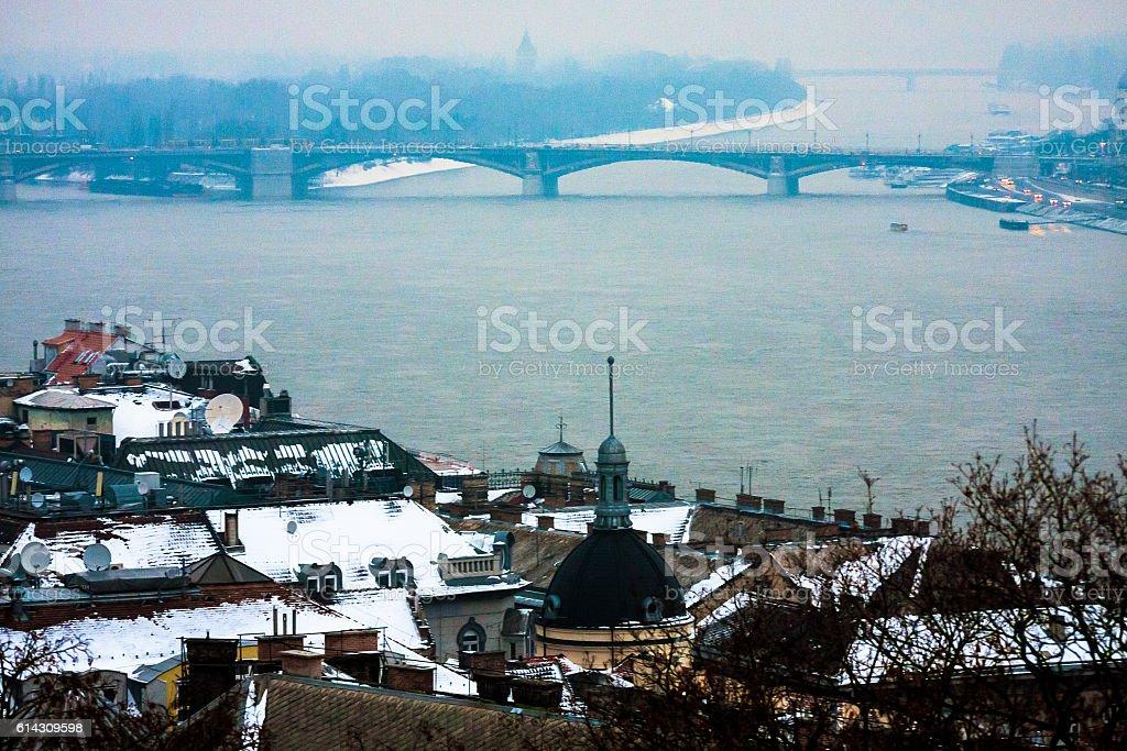 Danube River at Winter Twilight stock photo