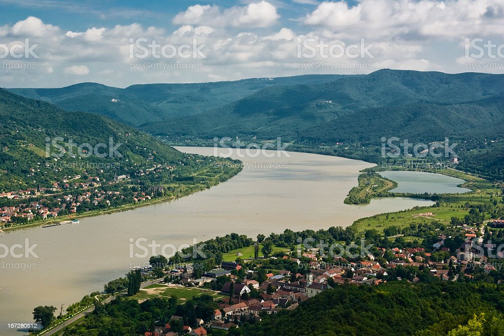 Danube river bend, Hungary stock photo