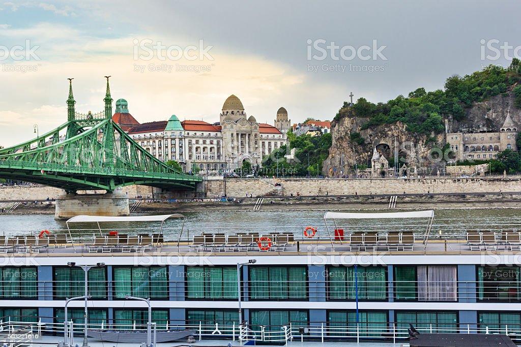 Danube river crossing Budapest stock photo