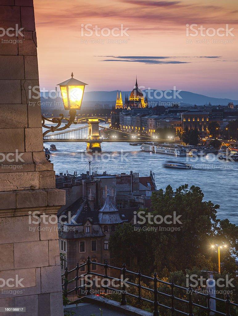 Danube river in Budapest at night stock photo