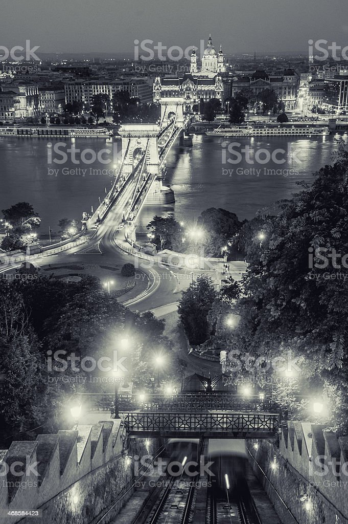Danube river in Budapest at night royalty-free stock photo