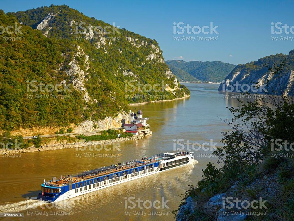 Danube river.  Serbia and Romania border. stock photo