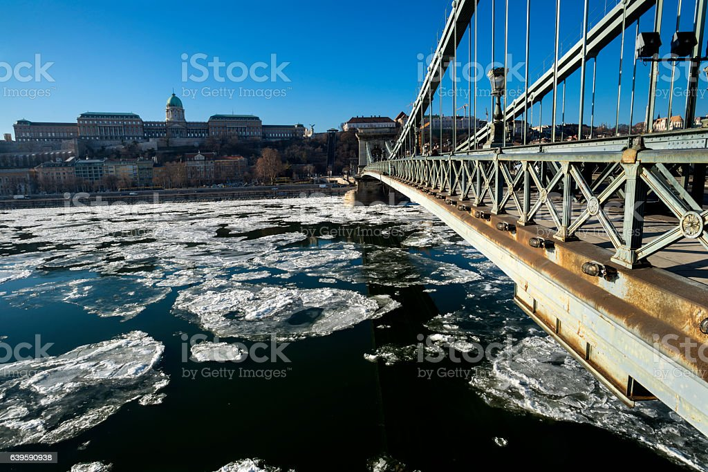 Danube river with floating ice stock photo