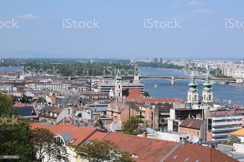 Danube with the Margit Bridge stock photo