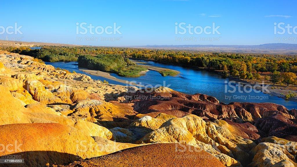 Danxia landform and famous Eltrix river stock photo