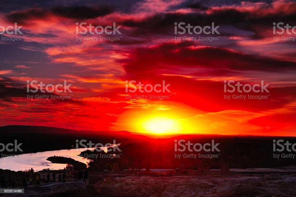 Danxia landform sunset glow stock photo