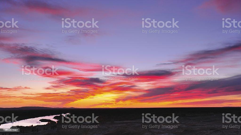 Danxia landform sunset stock photo