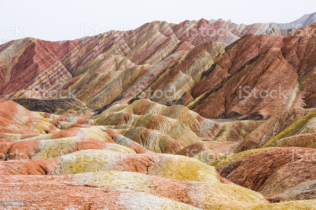 Danxia Rainbow Mountains, Zhangye, Gansu Province, China stock photo