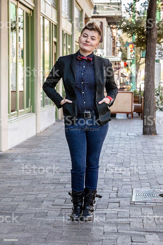 Dapper Gender Fluid Young Woman stock photo