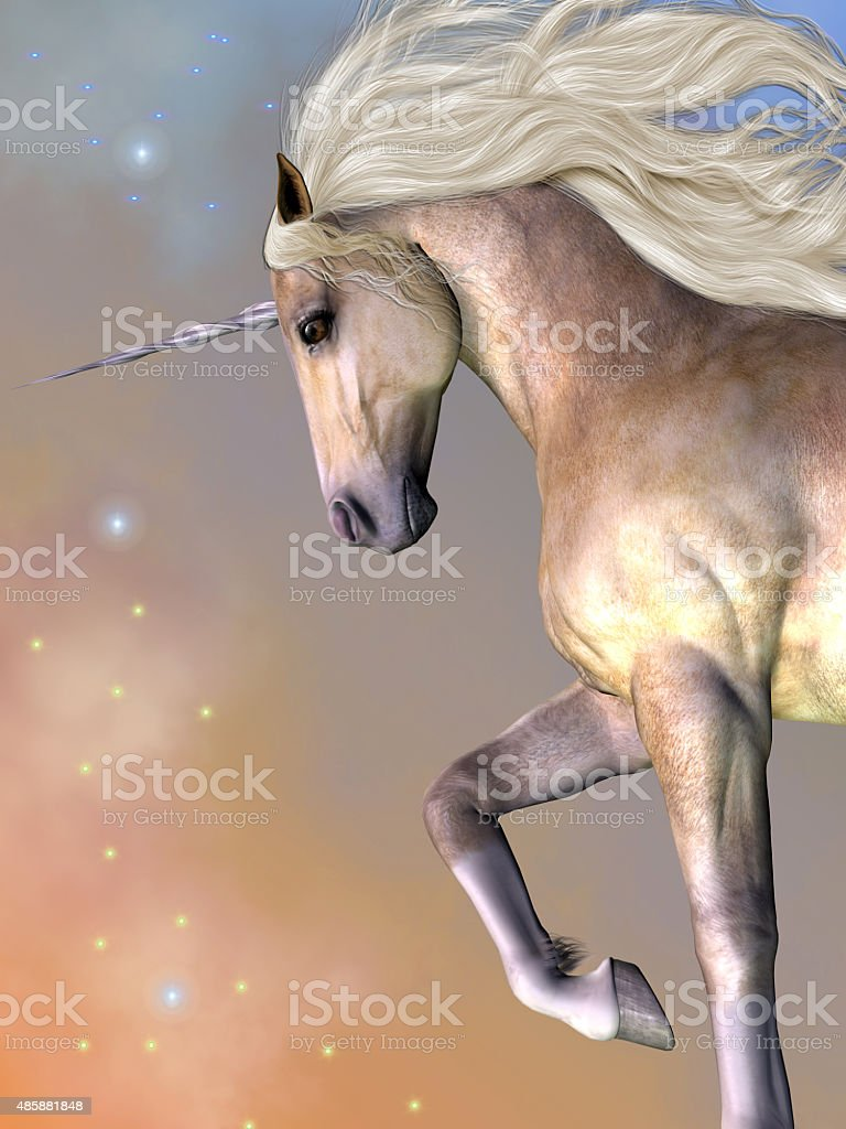 Dapple Buttermilk Unicorn stock photo