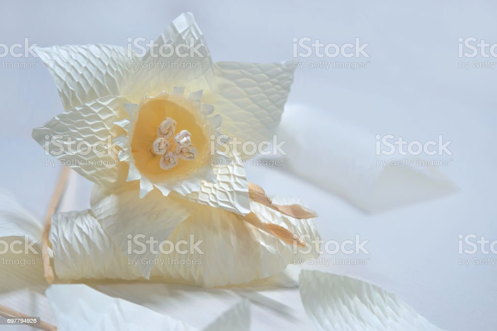 Dararat or Daffodil artificial flowers for H.M. King Bhumibol Adulyadej's cremation stock photo