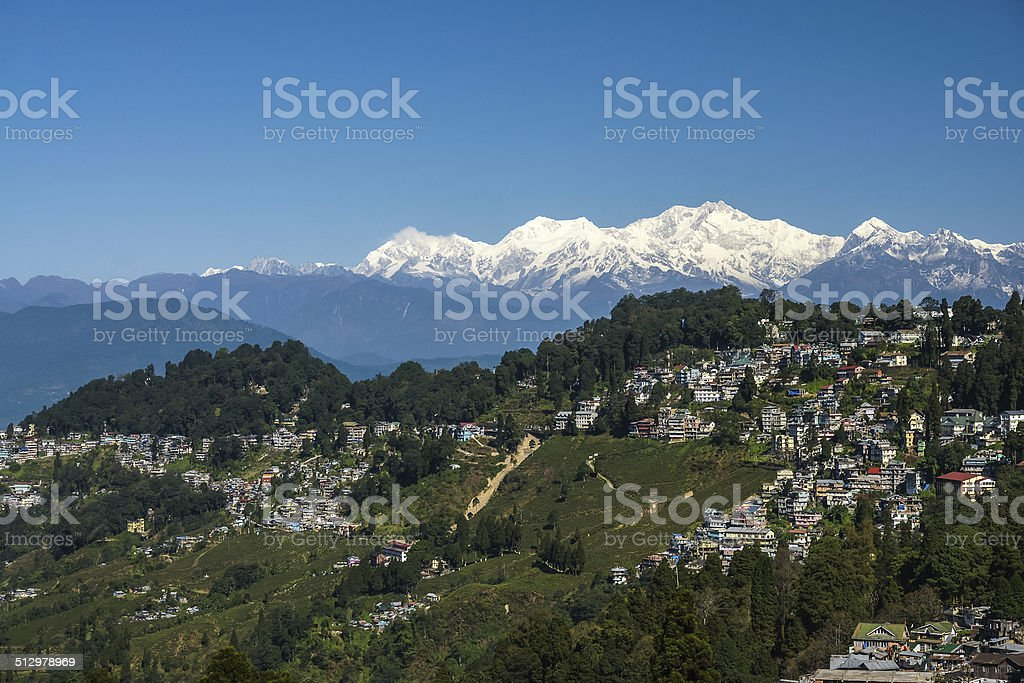Darjeeling Town and Tea Plantation with Himalaya Mountains stock photo