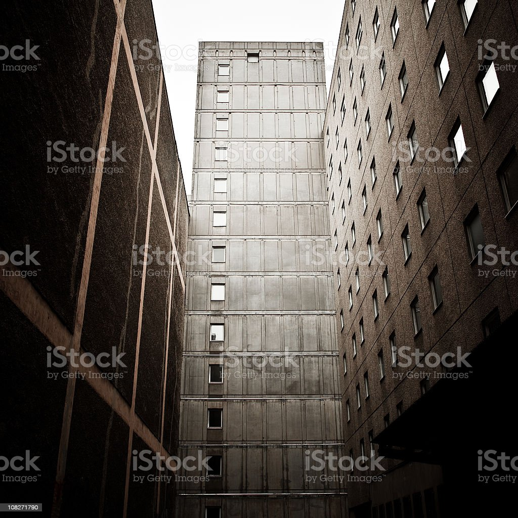 Dark Abandoned Building Architecture in East Berlin stock photo