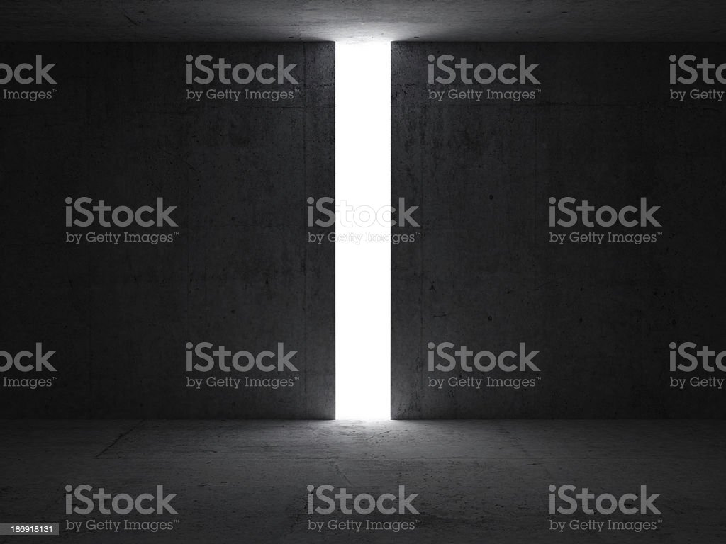 Dark abstract interior with opening in the concrete wall stock photo
