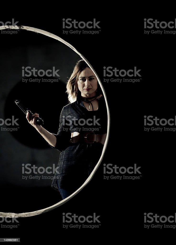 Dark agent woman stock photo