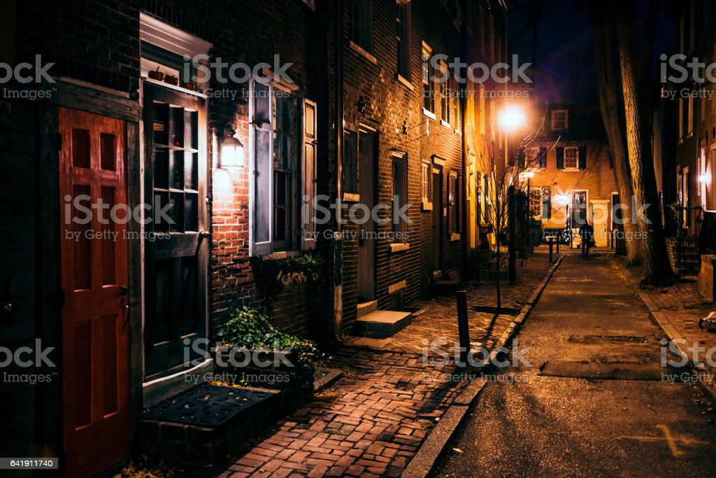 Dark alley. Central Philadelphia. stock photo