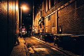 Dark alley. Downtown Philadelphia.