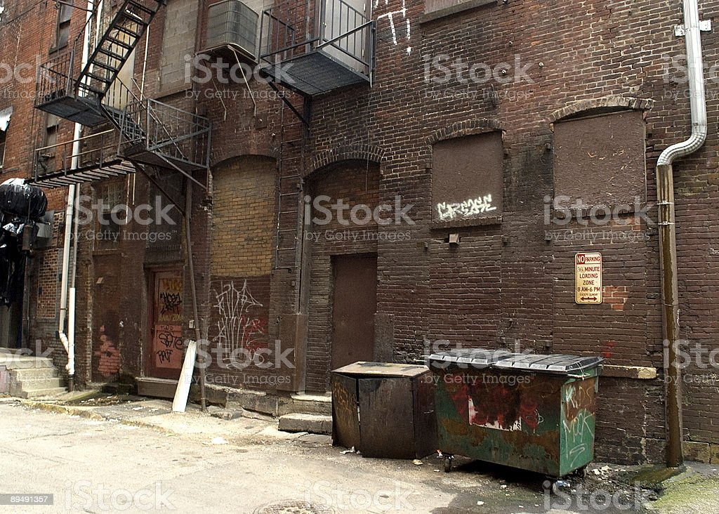 Dark Alley in a Downtown Urban Area stock photo
