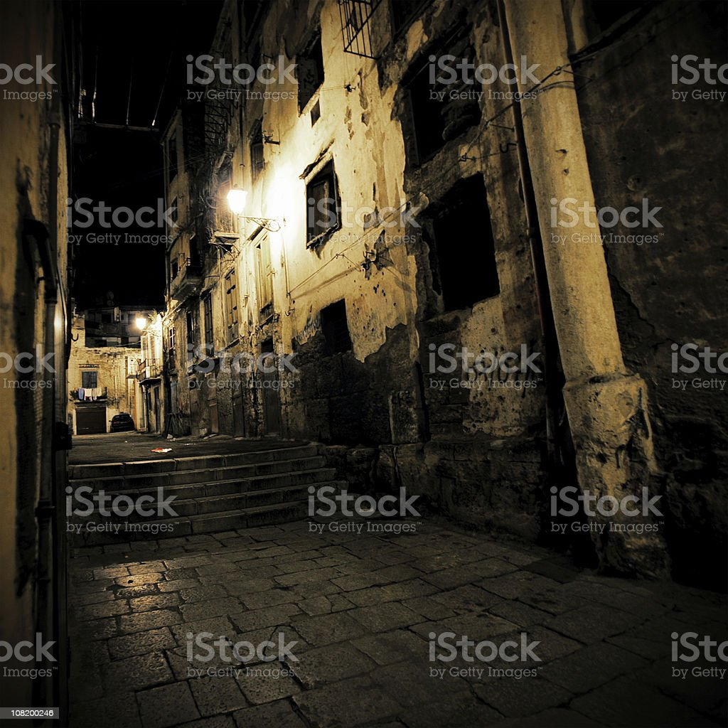 Dark Alley in Sicily at Night royalty-free stock photo
