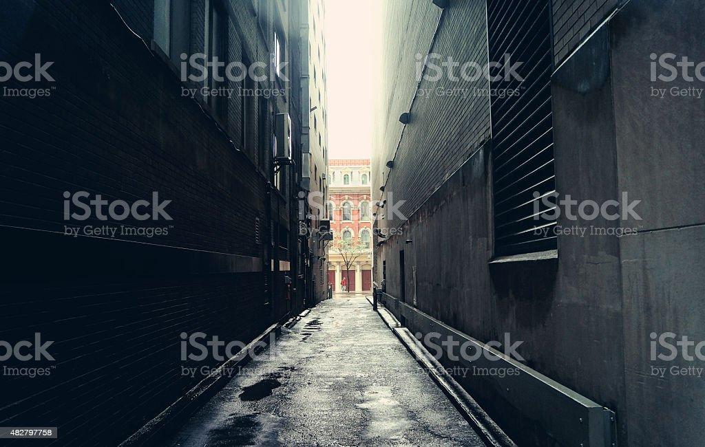 Dark alley in Toronto Canada stock photo