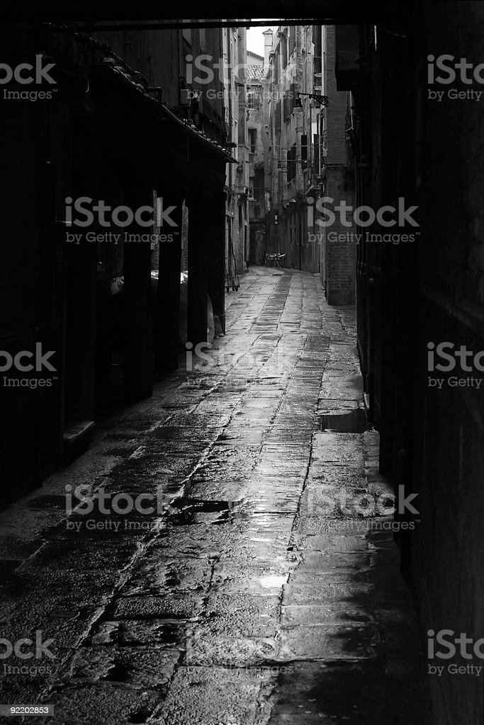 Dark alley in Venice royalty-free stock photo