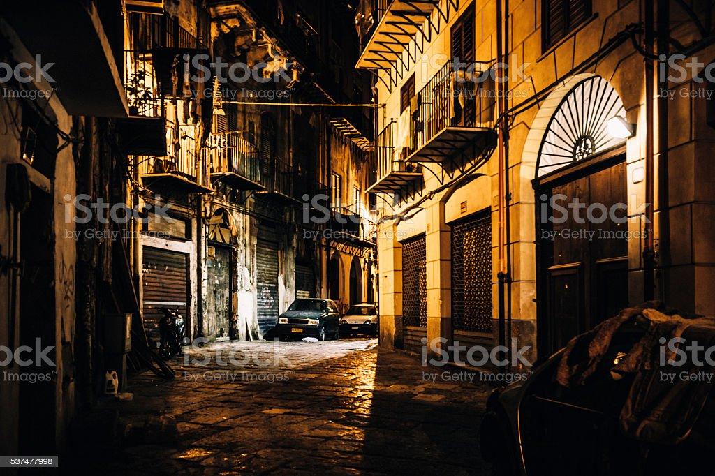 Dark alley. Palermo, Sicily. stock photo