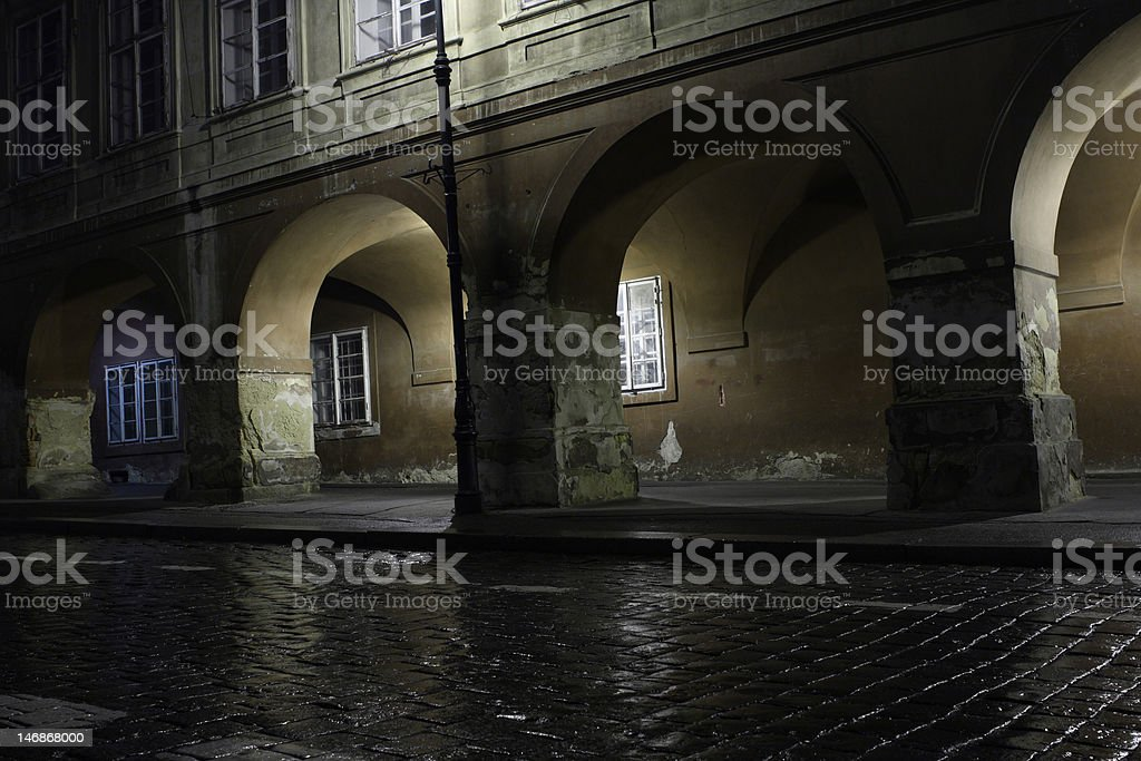 Dark alley. Prague. Czech Republic. royalty-free stock photo