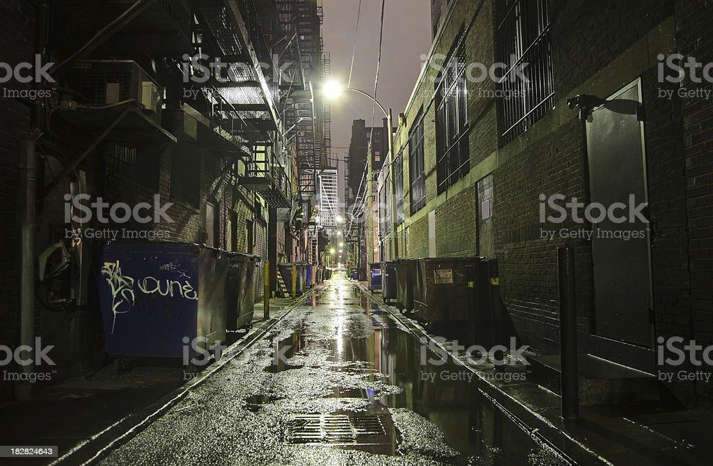 Dark Alleyway at Night stock photo