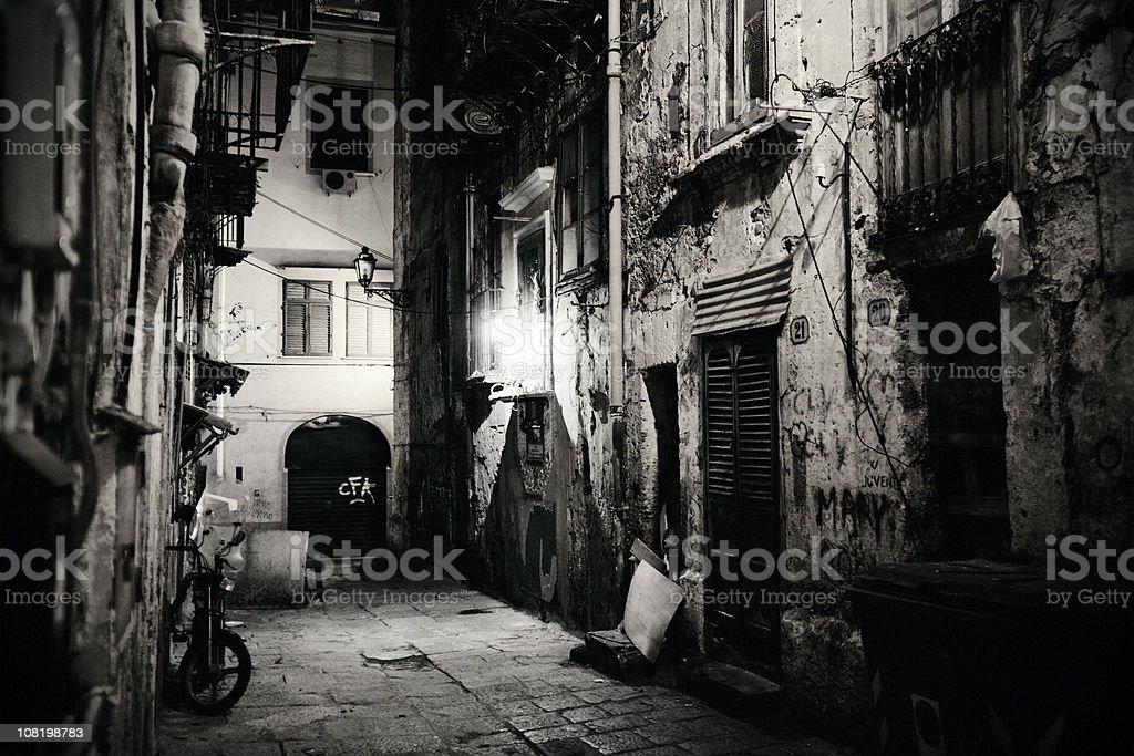 Dark Alleyway in Sicily, Italy stock photo