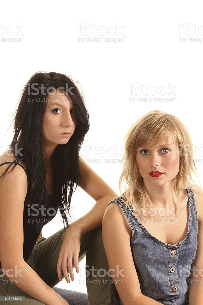 Dark And Blonde Teenage Models stock photo