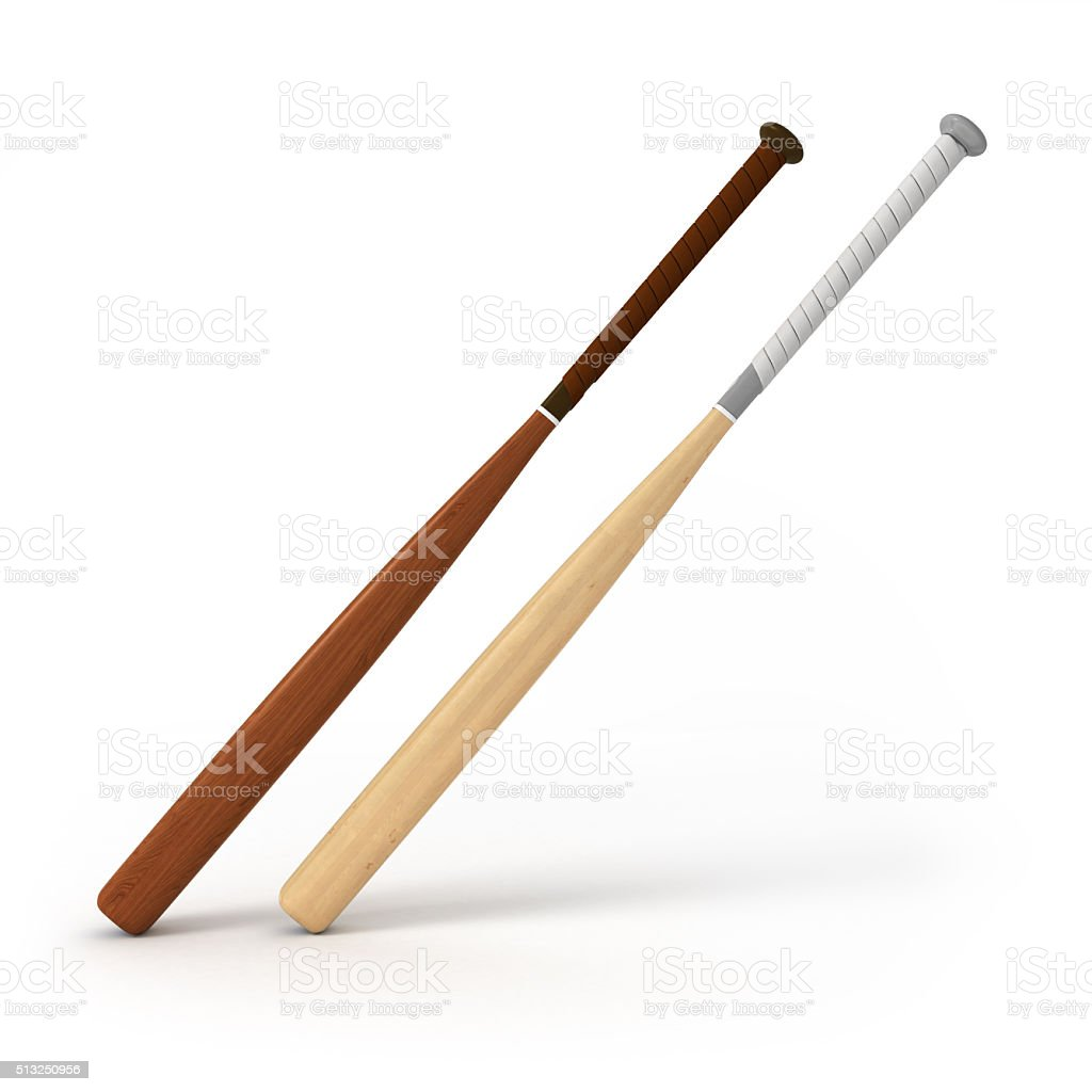 dark and light baseball bats isolated on white background stock photo