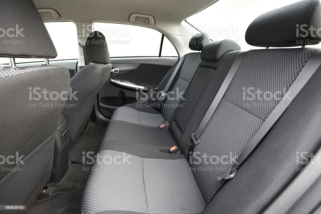 Dark and light gray interior of a new car stock photo