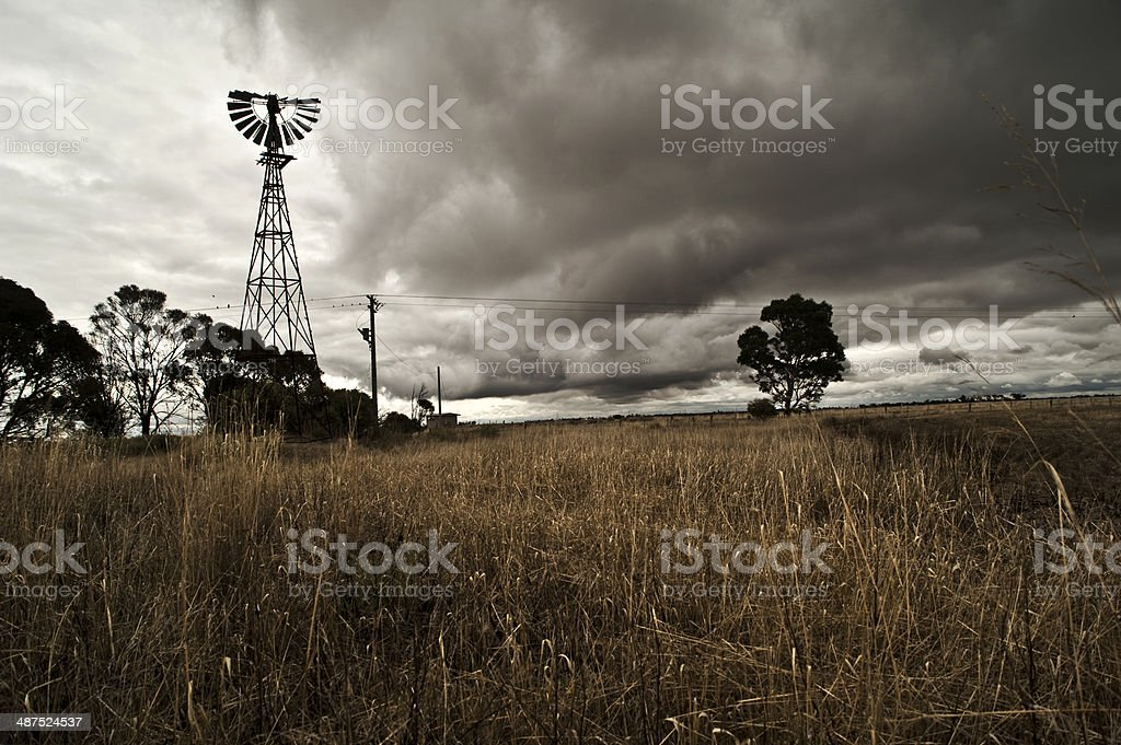 Dark and stormy on the farm royalty-free stock photo