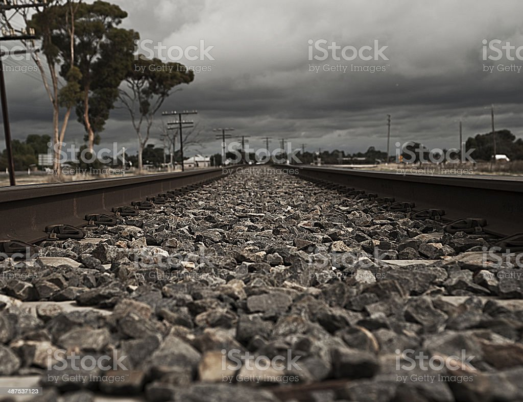 Dark and stormy on the railway line stock photo