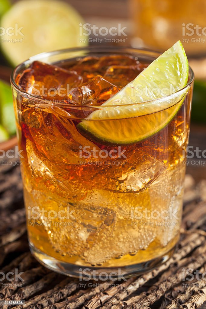 Dark and Stormy Rum Cocktail stock photo