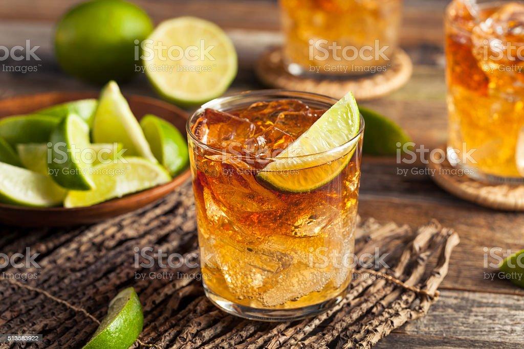 Dark and Stormy Rum Cocktail stock photo