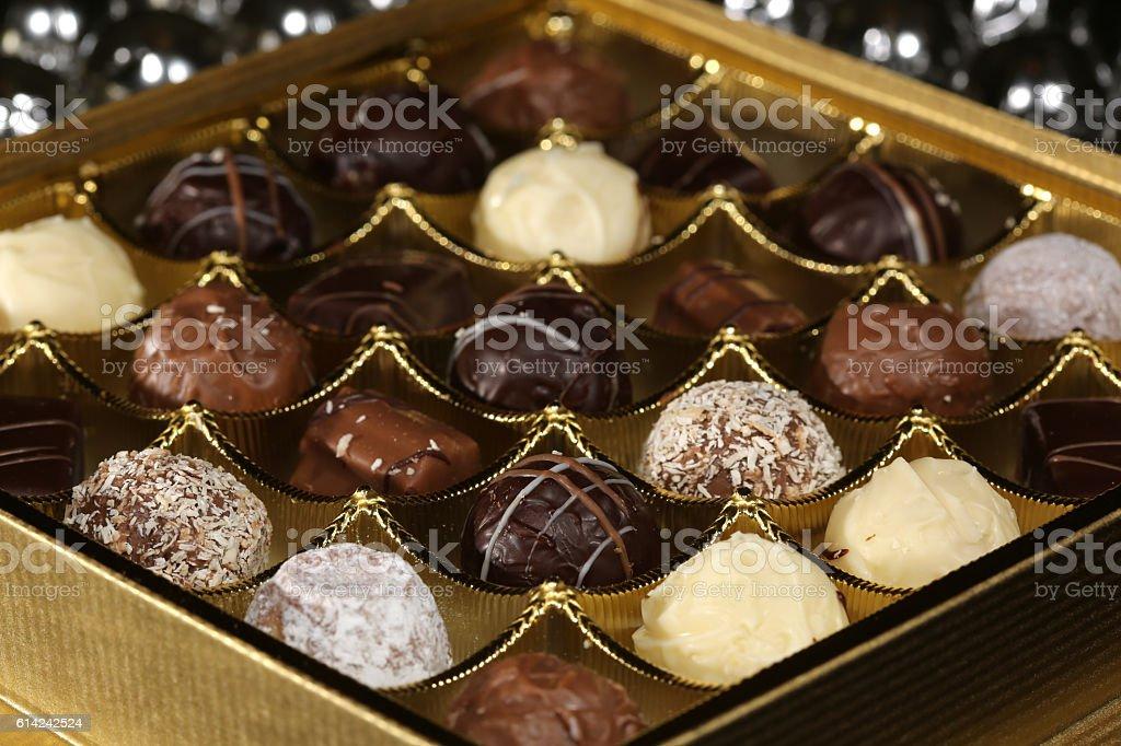Dark and white Chocolate Candies stock photo