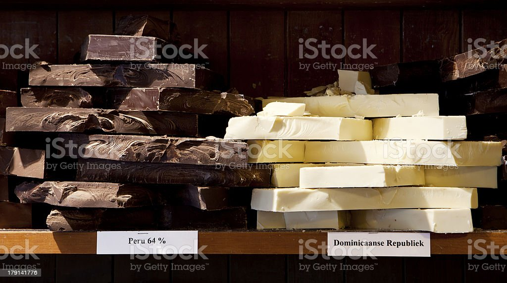 Dark and White Chocolate Slabs royalty-free stock photo
