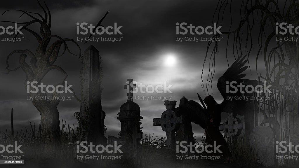 Dark Angel at a graveyard on a foggy night stock photo