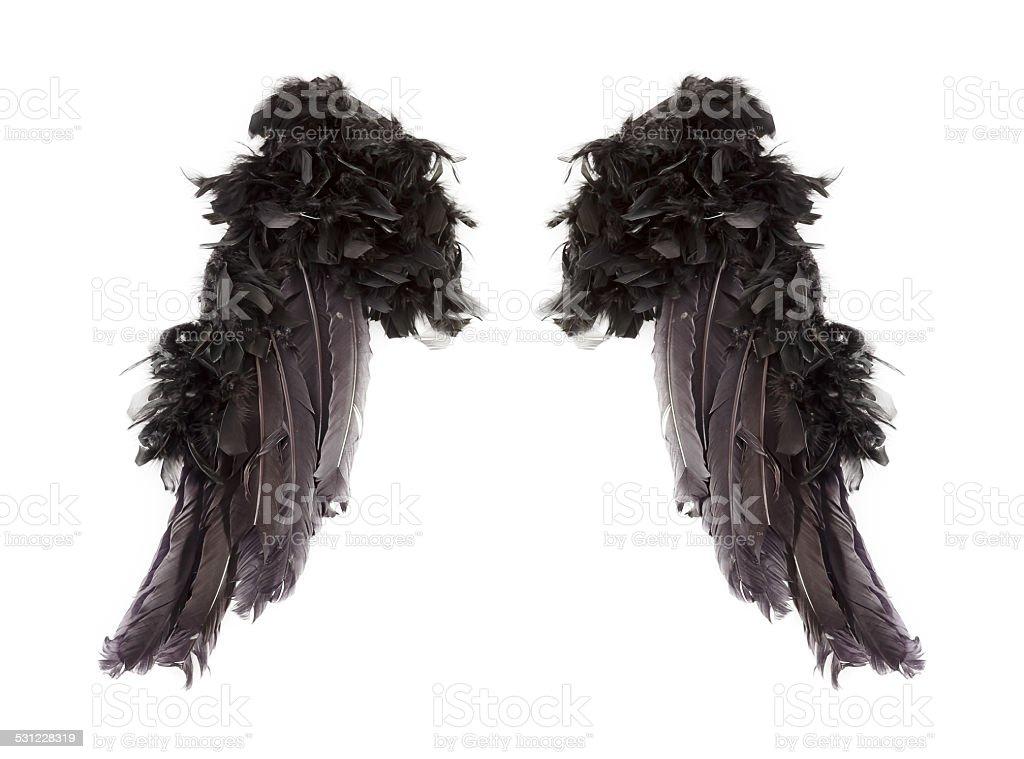 Dark angel wings stock photo
