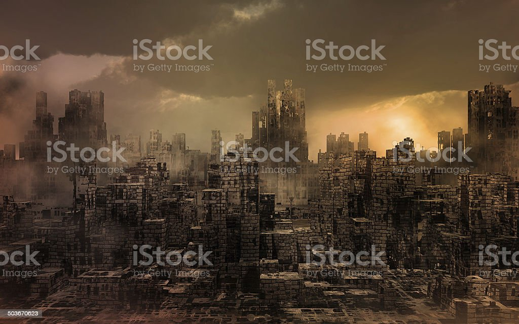 Dark apocalyptic view of a city stock photo