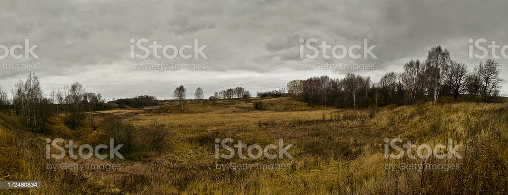 Dark autumn landscape with great cloudscape royalty-free stock photo