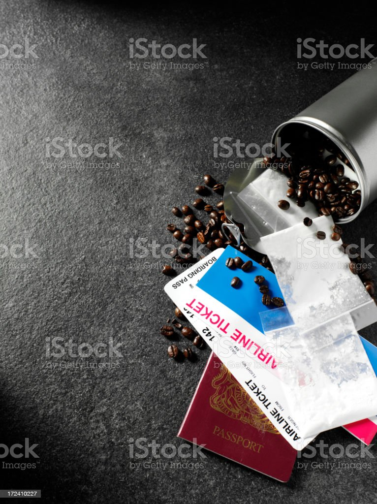 Dark Background and Smuggling Narcotics royalty-free stock photo